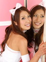 Reika Miki Asian is such cute kitten in white fluffy lingerie - Japarn porn pics at JapHole.com