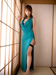 Ayaka Noda Asian shows sexy legs and ass under long blue dress - Japarn porn pics at JapHole.com