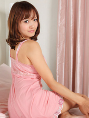 Rina Itoh Asian shows sexy legs and slowly touches herself in bed - Japarn porn pics at JapHole.com