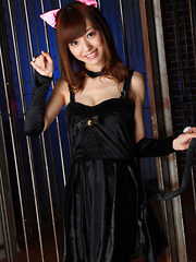 Aino Kishi Asian takes dress off and shows nudeness behind bars - Japarn porn pics at JapHole.com