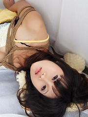 Miko Asian doll in fishnets has hands and boobies tied with ropes - Japarn porn pics at JapHole.com