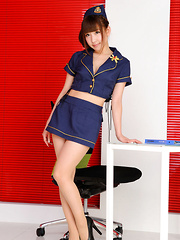 Chihiro Akiha Asian is sexy captain girl in heels and hot uniform - Japarn porn pics at JapHole.com