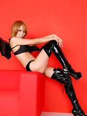 Sayuri Ono Asian spreads legs in long boots and shows panty - Japarn porn pics at JapHole.com