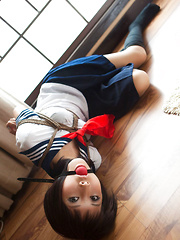 Dimdim Asian in school uniform is tied in ropes and can´t scream - Japarn porn pics at JapHole.com