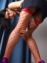 Noriko Kijima Asian is erotic doctor with red fishnets and specs - Japarn porn pics at JapHole.com
