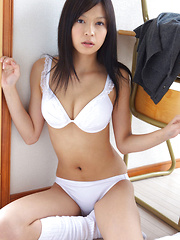 Rina Toiro Asian has big cans and firm ass in white lingerie - Japarn porn pics at JapHole.com