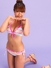 Hazuki Minami Asian has new bath suit that fits her perfectly