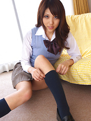 Asami Tsubaki Asian in uniform spreads legs and shows panty - Japarn porn pics at JapHole.com