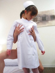 Shy Miina Minamoto in white nurse outfit fucked and creamed - Japarn porn pics at JapHole.com