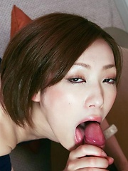 Nene Iino the Japanese AV cutie mouths a heavy dick - Japarn porn pics at JapHole.com
