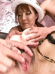 Yuna Hirose Asian wants dick in mouth while riding another one - Japarn porn pics at JapHole.com
