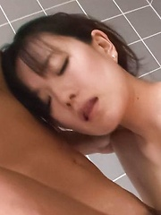 Manami Komukai Asian has orgasms and gives blowjob at shower - Japarn porn pics at JapHole.com