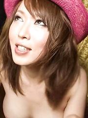 Sayaka Tsuzi Asian has cum on firm boobs after stroking woodies - Japarn porn pics at JapHole.com