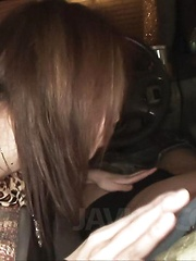 Rinka Kanzaki Asian with hot behind gives blowjob in the car - Japarn porn pics at JapHole.com