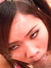 Eve Asian nymphet rubs her cunt with long nails and sucks shlong - Japarn porn pics at JapHole.com