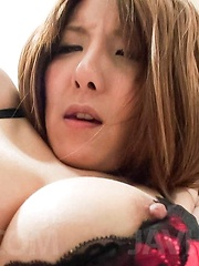 Yuna Hirose Asian busty has hairy peach fingered but wants penis - Japarn porn pics at JapHole.com