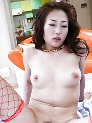 Yuu Uehara Asian in red fishnet stockings is doggy style pumped - Japarn porn pics at JapHole.com