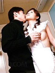Moe Yoshikawa Asian in fishnet stockings is screwed from behind - Japarn porn pics at JapHole.com