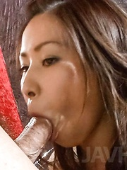 Chie Inamori Asian has hairy vagina aroused and sucks hard cock - Japarn porn pics at JapHole.com