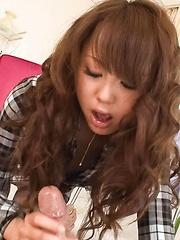 Jyunko Hayama Asian plays with tongue on balls and sucks boner - Japarn porn pics at JapHole.com