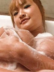 Kurea Mutou Asian pleasures boobs with soap and slit with shower - Japarn porn pics at JapHole.com