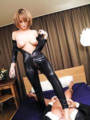 Sumire Matsu Asian has vagina licked through crotchless latex - Japarn porn pics at JapHole.com
