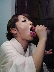 Marika Asian nymphet sucks and strokes penis till gets cum to eat - Japarn porn pics at JapHole.com