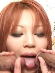 SARA Asian with big jugs in fishnets sucks and licks shlongs - Japarn porn pics at JapHole.com