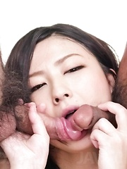 Megumi Haruka Asian in fishnet outfit gets cum in mouth from dick - Japarn porn pics at JapHole.com