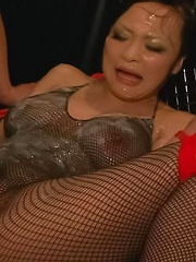 Yuu Haruka Asian is fucked with vibrator in ass through fishnets - Japarn porn pics at JapHole.com
