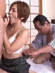Meguru Kosaka Asian has fine boobs fondled while she sucks penis - Japarn porn pics at JapHole.com