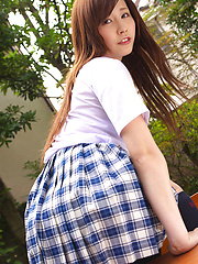 Schoolgirl Iyo Hanak poses at the open air in sexy skirt - Japarn porn pics at JapHole.com