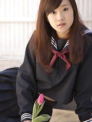 Teen Kana Yuuki is schoolgirl with nice face and slender figure - Japarn porn pics at JapHole.com