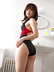 Hot Hikari Yamaguchi frolics in the bathroom in sexy swim suit - Japarn porn pics at JapHole.com