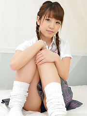 Mizuho Shiraishi Asian with pigtails is so playful in uniform - Japarn porn pics at JapHole.com