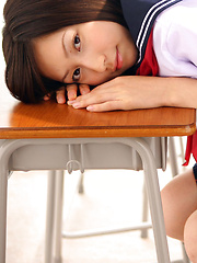Kaori Ishii Asian is naughty and shows legs under uniform skirt - Japarn porn pics at JapHole.com
