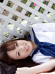 Maho Kimura Asian undresses school uniform right in the park - Japarn porn pics at JapHole.com
