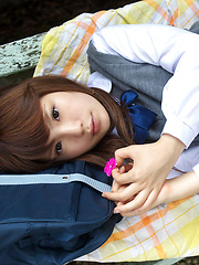 Manami Sato Asian in short uniform skirt spends time in the park - Japarn porn pics at JapHole.com