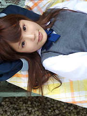 Manami Sato Asian in short uniform skirt spends time in the park