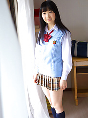 Kotone Moriyama Asian in uniform bends and shows ass on street - Japarn porn pics at JapHole.com