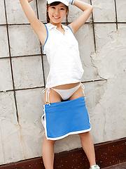 Kana Yuuki Asian takes tennis skirt off while playing with ball