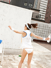 Kana Yuuki Asian takes tennis skirt off while playing with ball - Japarn porn pics at JapHole.com