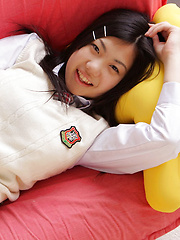 Miho Takai Asian in school uniform is very playful before classes - Japarn porn pics at JapHole.com