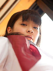 Yuuri Shiina Asian shows nasty behind in panty under uniform - Japarn porn pics at JapHole.com