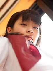 Yuuri Shiina Asian shows nasty behind in panty under uniform - Japarn porn pics at JapHole.com