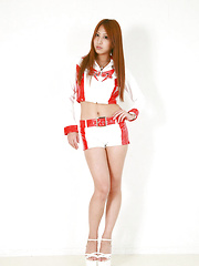 Yuika Anzai Asian in short latex pants poses with such skill