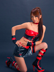 Momoka Narushima Asian looks best in red and black latex outfit - Japarn porn pics at JapHole.com