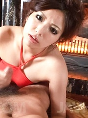 Kanade Otowa Asian with big eyes sucks dick and rubs it with feet - Japarn porn pics at JapHole.com