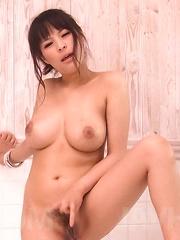 Kyouko Maki Asian fondles her big cans and rubs love box at bath - Japarn porn pics at JapHole.com