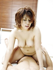 Yukari Asian babe rides hard shlong and gets sperm in her mouth - Japarn porn pics at JapHole.com